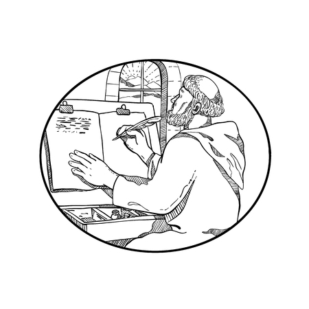 Illustration for Drawing sketch style illustration of a monastic medieval monk writing illuminated manuscript inside European monastery or scriptorium set inside oval on isolated white background in black and white. - Royalty Free Image