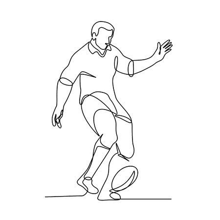 Ilustración de Continuous line illustration of a rugby player kicking the ball for a field goal or kick-off  done in black and white monoline style. - Imagen libre de derechos