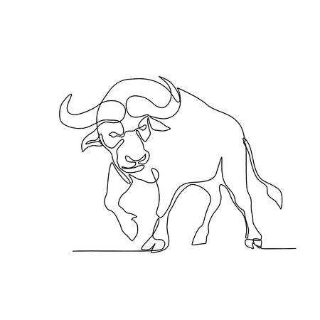 Ilustración de Continuous line illustration of an African buffalo or Cape buffalo, a large African bovine, about to charge or attack done in black and white monoline style. - Imagen libre de derechos