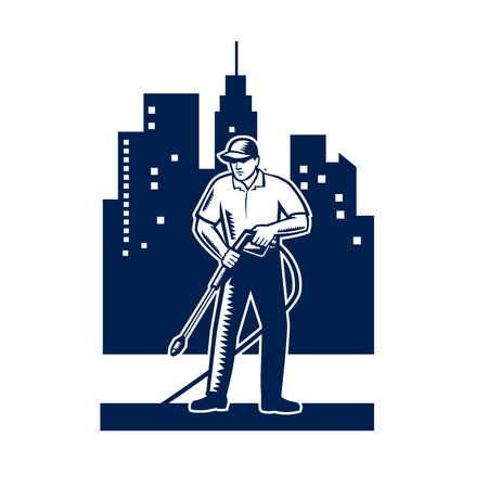 Illustration pour Illustration of male worker with pressure washer chemical washing using high-pressure water spray with urban buildings and cityscape in background done in retro woodcut style. - image libre de droit