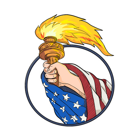 Ilustración de Drawing sketch style illustration of a hand holding a Statue of Liberty torch with American USA stars and stripes flag draped on arm set inside oval on isolated white background in full color. - Imagen libre de derechos