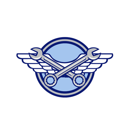Illustration pour Icon retro style illustration of a crossed spanner or wrench and air force, aviator or army wings set inside circle on isolated background. - image libre de droit