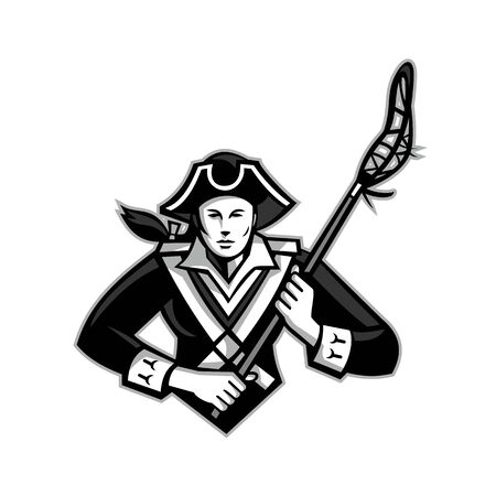Illustration pour Mascot icon illustration of bust of a girl or female American patriot with lacrosse stick viewed from front on isolated background in retro style done in grayscale. - image libre de droit