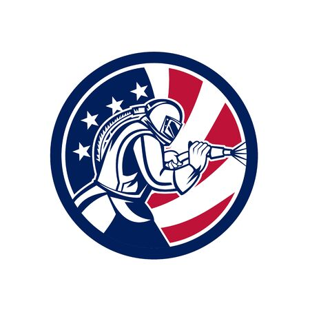 Ilustración de Mascot icon illustration of an American sandblaster or sand blaster abrasive blasting viewed from side set inside circle with USA stars and stripes flag on isolated background in retro style. - Imagen libre de derechos