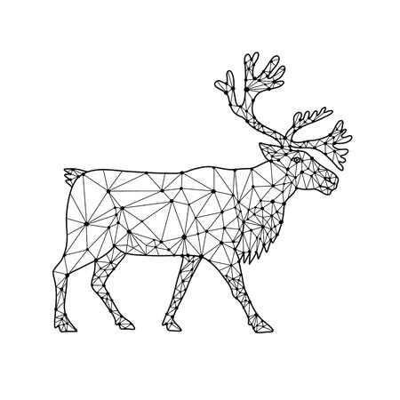 Ilustración de Nodes or mosaic low polygon style illustration of a reindeer or caribou in North America, a species of deer with circumpolar distribution, native to Arctic, northern Europe, Siberia viewed from side on isolated white background in black and white. - Imagen libre de derechos