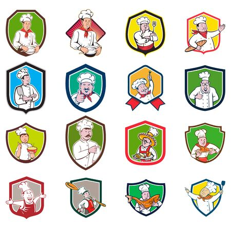 Ilustración de Set or Collection of cartoon character style illustration of bust of a chef, baker or cook set inside crest or shield on isolated white background. - Imagen libre de derechos