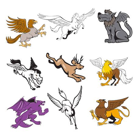 Ilustración de Set or collection of cartoon character mascot style illustration of legendary, mythical, mythological creature or fabulous beast  like the hipogriff, griffin, jackalope, kludde wolf and pegasus on isolated white background. - Imagen libre de derechos