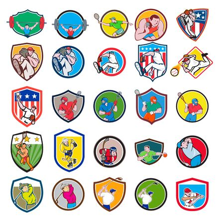 Ilustración de Set or collection of cartoon character mascot icon style illustration of a weightlifter, tennis player, shotput, baseball, lacrosse, ice hockey, handball and golfer in circle or crest shield on isolated white background. - Imagen libre de derechos
