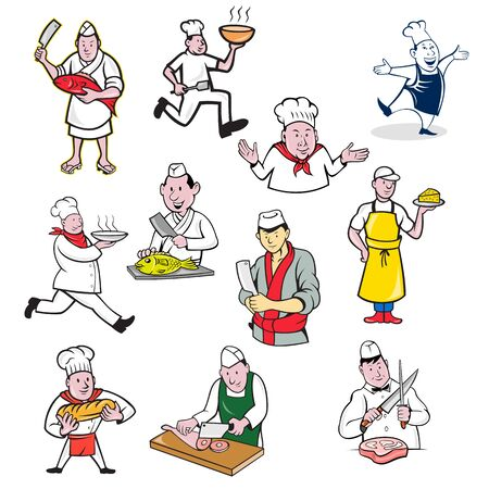 Ilustración de Set or collection of cartoon character mascot style illustration of food worker such as chef, cook, baker, cheesemaker, fishmonger or butcher full body or bust on isolated white background. - Imagen libre de derechos