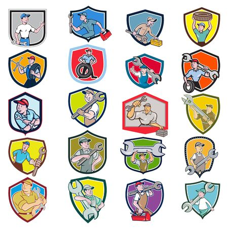 Ilustración de Set or Collection of cartoon character icon style illustration of bust of mechanic, technician, tireman, auto mechanic or industrial worker set inside crest or shield on isolated white background. - Imagen libre de derechos