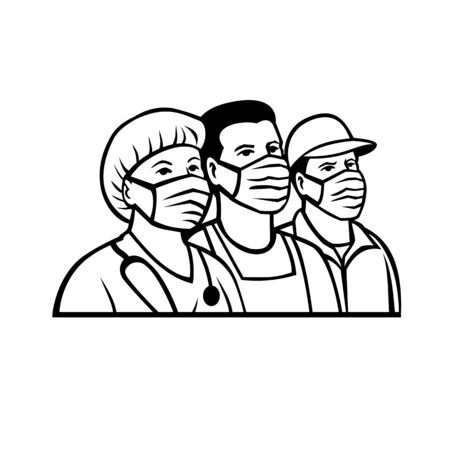 Ilustración de Mascot illustration of front line or essential worker like nurse, delivery, transportation, pharmacy, police, fire, postal, agriculture, EMS,  hospice workers wearing surgical mask in black and white. - Imagen libre de derechos