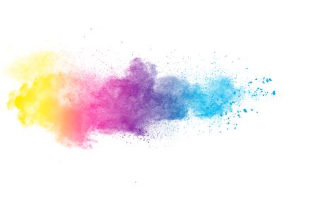 Foto de abstract color powder explosion on white background.abstract powder splatted background. - Imagen libre de derechos