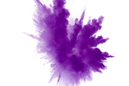 Photo for abstract explosion of purple dust on white background.Abstract purple powder splatter on white  background. Freeze motion of  purple powder splash. - Royalty Free Image