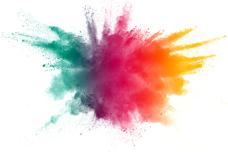 Foto de Green red yellow  powder explosion on white background. Colored cloud. Colorful dust explode. Paint Holi.abstract multicolored dust splatter on white background - Imagen libre de derechos