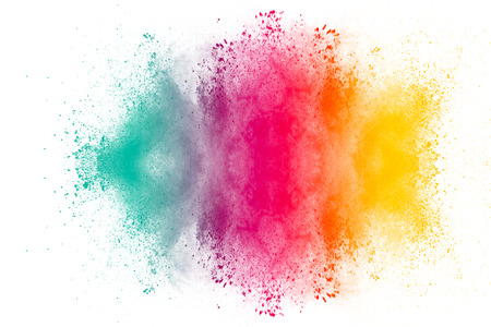 Photo pour Multicolored powder explosion on white background. Colored cloud. Colorful dust explode. Paint Holi.abstract multicolored dust splatter on white background - image libre de droit