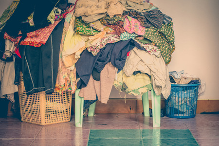 Photo for abstract vintage old tone of The basket with not folded clothes, clothes are not wash - Royalty Free Image