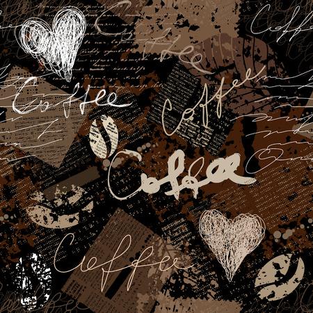 Ilustración de Seamless background pattern. Grunge coffee pattern for menu. - Imagen libre de derechos