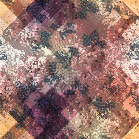 Illustration pour Seamless background pattern. Mosaic with roses and grunge effect. - image libre de droit