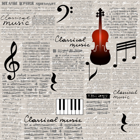 Illustration for Seamless background pattern. Imitation of a newspaper with a Classical music lettering. - Royalty Free Image