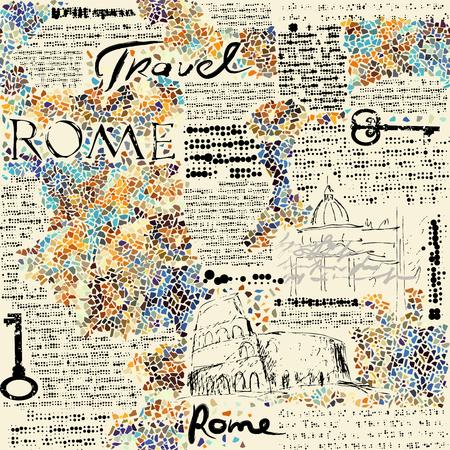 Illustration pour Imitation of retro newspaper background Rome travel. Seamless pattern. - image libre de droit