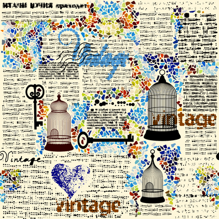 Ilustración de Seamless background pattern. Retro grunge halftone pattern with a Vintage words. - Imagen libre de derechos