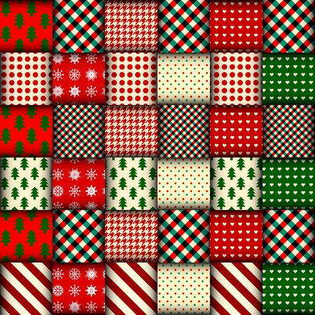 Ilustración de Seamless Christmas background in patchwork style. Interweaving ribbons with Christmas patterns on red background. - Imagen libre de derechos