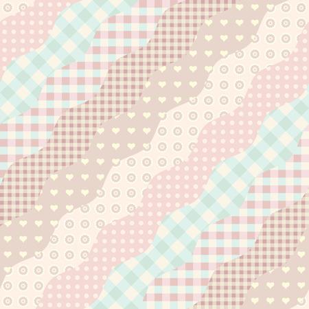 Ilustración de Seamless background pattern. Imitation of a patchwork pattern. Wavy diagonal shapes. - Imagen libre de derechos