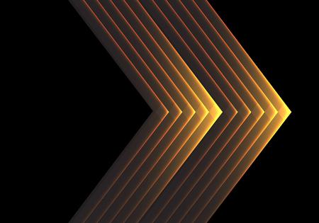 Illustrazione per Abstract gold arrow light on black design modern luxury futuristic background vector illustration. - Immagini Royalty Free