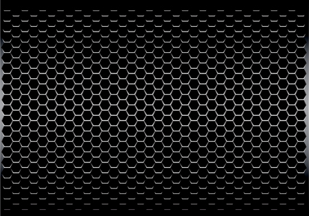 Illustration pour Dark gray hexagon metal mesh pattern design modern futuristic background texture vector illustration. - image libre de droit