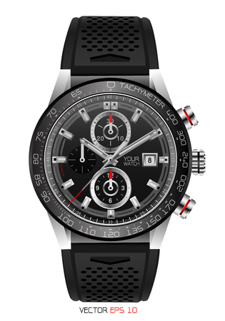 Illustration for Realistic watch chronograph stainless steel black rubber clockwise red white fashion for men design luxury isolated vector illustration. - Royalty Free Image