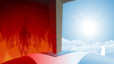 Illustration for Heaven or Hell Road Junction  - Royalty Free Image