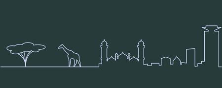 Ilustración de Nairobi Single Line Skyline - Imagen libre de derechos