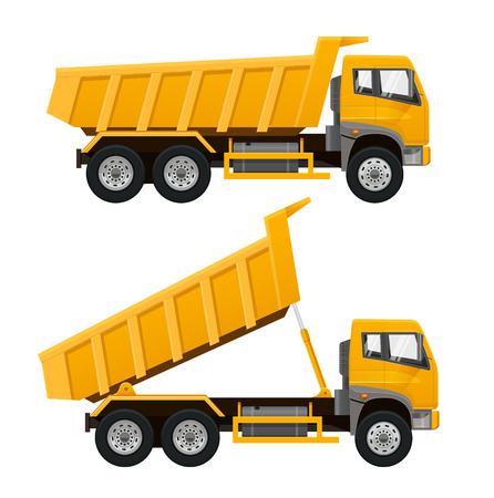 Illustration pour Yellow Tipper Truck Side View. Realistic vector illustration - image libre de droit
