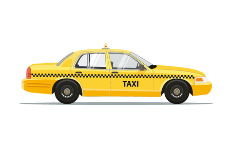 Illustration pour Taxi Yellow Car Cab Isolated on white background. Taxi Vector Illustration. - image libre de droit