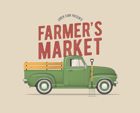 Ilustración de Farmer's Market Themed Vintage styled Vector Illustration of the old school Farmer's Green Pickup Truck for Your Poster Flyer Invitation Postcard Banner Design. - Imagen libre de derechos