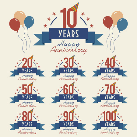 Illustration for Anniversary sign collection with party hat and balloons, flat design - Royalty Free Image