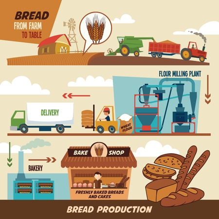 Ilustración de Stages of production of bread. From wheat harvest to freshly baked bread, from farm to table - Imagen libre de derechos