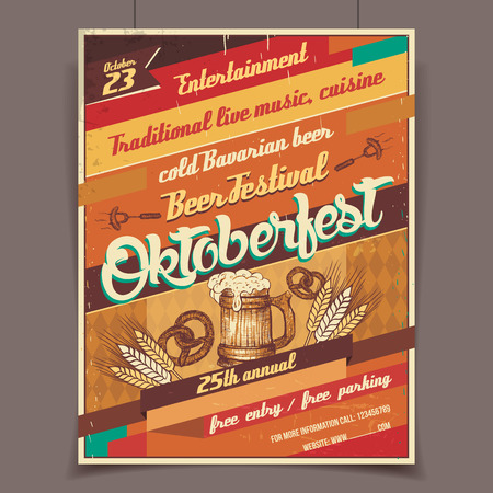 Ilustración de Oktoberfest german beer festival template retro poster - Imagen libre de derechos