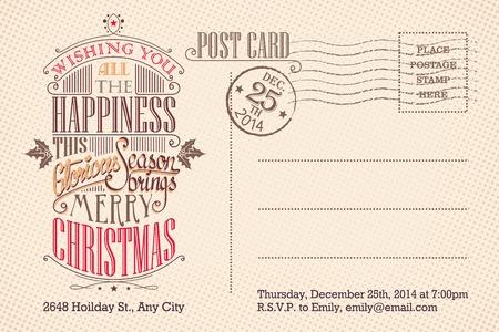 Illustration pour Vintage Christmas holiday party invitation postcard - image libre de droit