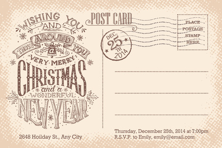 Illustration pour Vintage Christmas and New Year holiday party invitation postcard - image libre de droit