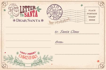 Illustration pour Vintage Christmas letter to Santa Claus wish list postcard - image libre de droit