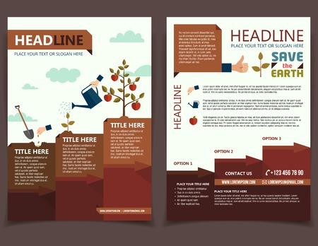 Illustration pour Planting tree design template for broshure cover and flyer - image libre de droit