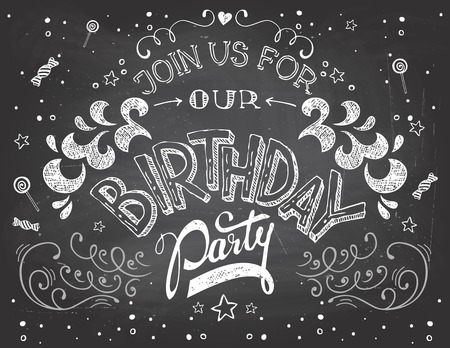 Illustration for Hand-lettering Birthday Party invitation typography on blackboard with chalk - Royalty Free Image