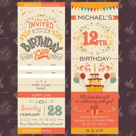 Illustration for Birthday party invitation boarding pass ticket. Face and back sides - Royalty Free Image