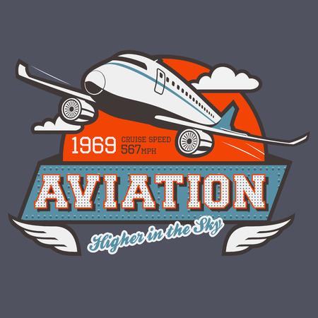 Ilustración de Aviation t-shirt illustration label with airplane - Imagen libre de derechos