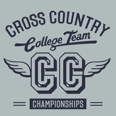 Illustration pour Cross country championships college team, t-shirt typographic design - image libre de droit