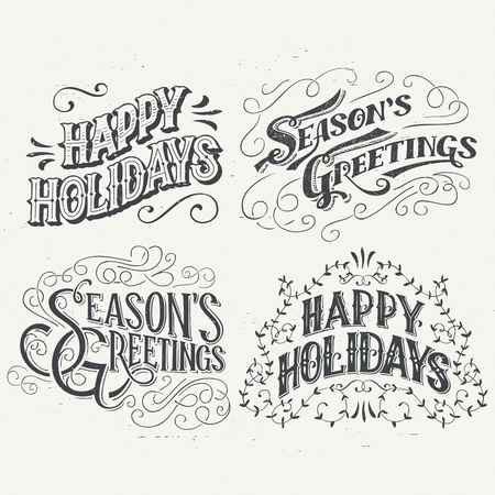 Illustration for Happy Holidays. Hand drawn typography headlines set for greeting cards in vintage style - Royalty Free Image
