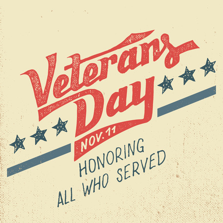Illustration pour Veterans day greeting card with hand-drawn typographic design in vintage style - image libre de droit