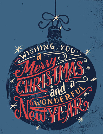 Ilustración de Wishing you a Merry Christmas and a wonderful New Year. Hand lettered quote on a Christmas ball background in vintage style - Imagen libre de derechos