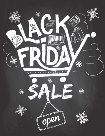 Illustration for Black friday sale advertising poster. Hand lettering on blackboard background with chalk in vintage style - Royalty Free Image
